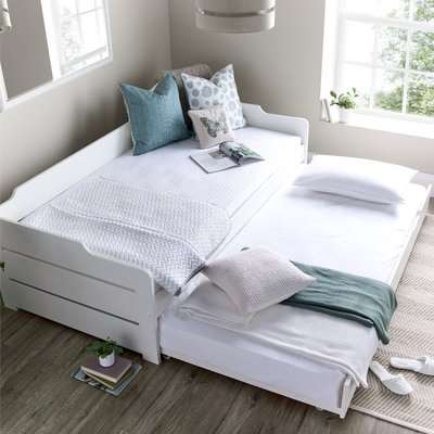 Copella White Wooden Day Bed with Guest Bed Frame Only - 3ft Single