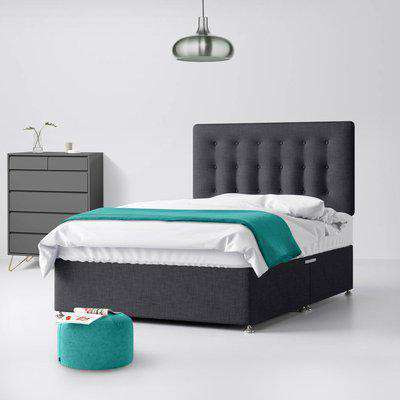 Cornell Buttoned Charcoal Fabric 2 Drawer Same Side Divan Bed - 2ft6 Small Single