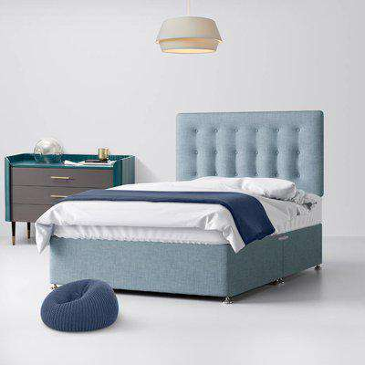 Cornell Buttoned Duck Egg Blue Fabric Ottoman Divan Bed - 2ft6 Small Single