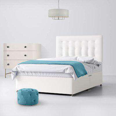 Cornell Buttoned White Fabric Ottoman Divan Bed - 3ft Single