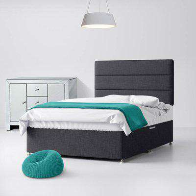 Cornell Lined Charcoal Fabric Ottoman Divan Bed - 2ft6 Small Single