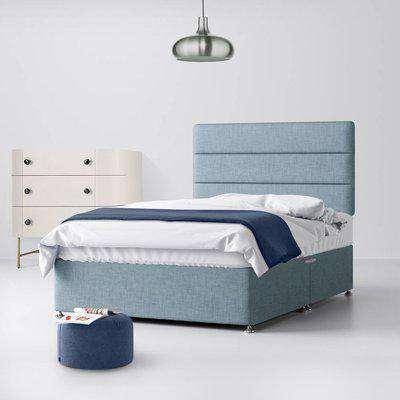 Cornell Plain Midnight Blue Fabric Ottoman Divan Bed - 3ft Single
