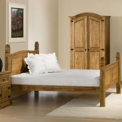 Corona High Foot End Waxed Solid Pine Wooden Bed Frame - 5ft King Size