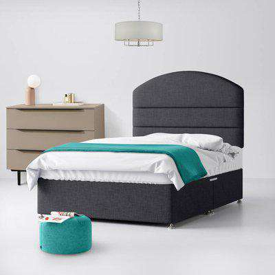 Dudley Lined Charcoal Fabric Ottoman Divan Bed - 6ft Super King Size