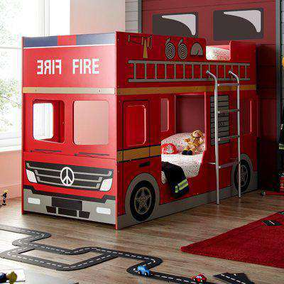 Fire Engine Red Wooden Bunk Bed - 3ft Single