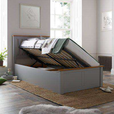 Francis Grey Wooden Ottoman Storage Bed Frame - 3ft Single