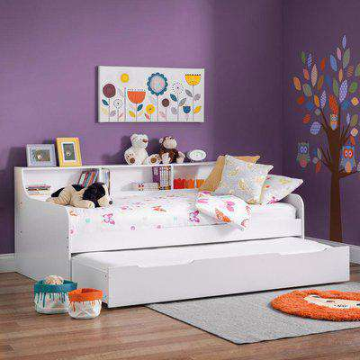 Grace White Wooden Day Bed with Guest Bed Trundle Frame Only - 3ft Single