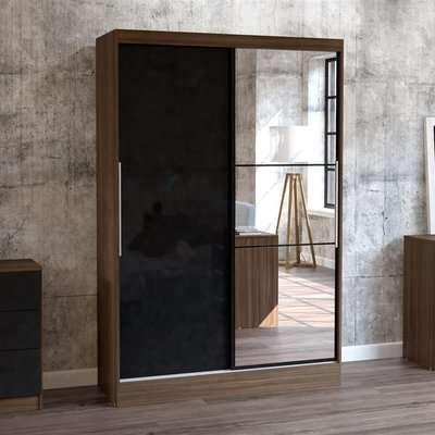 Lynx 2 Door Sliding Mirrored Wardrobe Walnut and Black