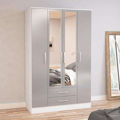 Lynx White and Grey 4 Door 2 Drawer Wardrobe with Mirror