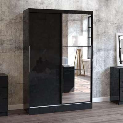 Lynx 2 Door Sliding Mirrored Wardrobe Black