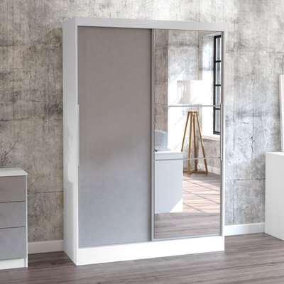 Lynx White and Grey 2 Door Sliding Wardrobe with Mirror