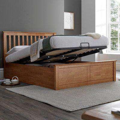 Malmo Oak Wooden Ottoman Bed Frame - 4ft6 Double