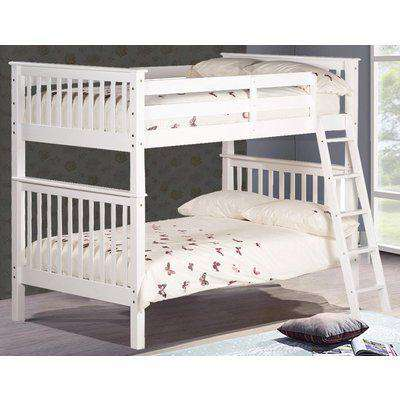 Malvern White Wooden Quadruple Sleeper Bunk Bed Frame - 4ft Small Double