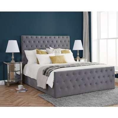 Marquis Grey Velvet Fabric Bed Frame - 6ft Super King Size