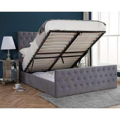 Marquis Grey Velvet Ottoman Storage Bed Frame - 6ft Super King Size