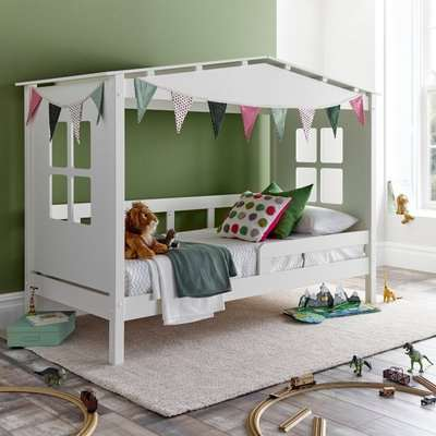 Mento White Wooden Treehouse Bed Frame Only - 3ft Single