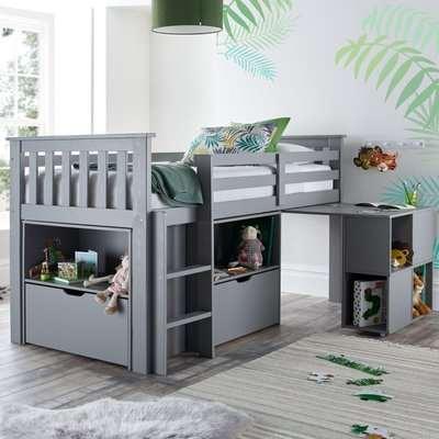 Milo Grey Wooden Mid Sleeper Kids Bed Frame - 3ft Single