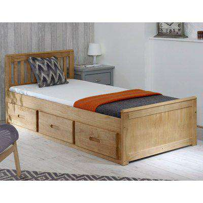 Mission Waxed Pine Wooden Storage Bed Frame - 4ft Small Double
