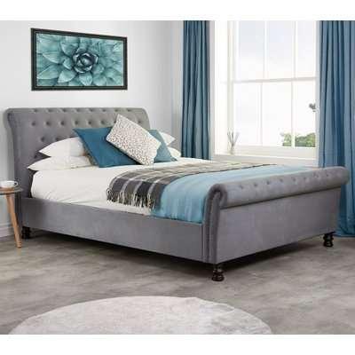 Opulence Grey Velvet Fabric Scroll Sleigh Bed Frame - 6ft Super King Size