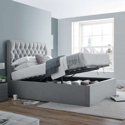 Wilson Grey Fabric Ottoman Storage Bed Frame - 5ft King Size