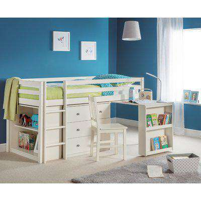 Roxy Stone White Wooden Mid Sleeper Frame Only - 3ft Single