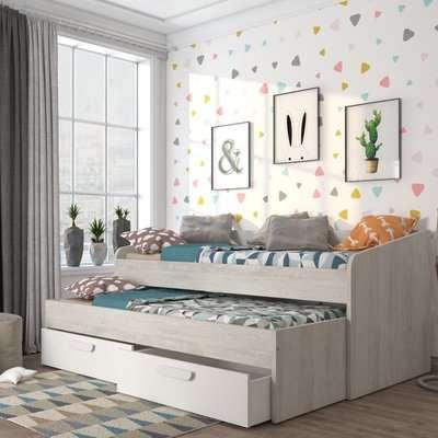 Terrassa Oak and White Wooden Guest Bed Frame - EU Single