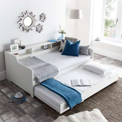 Tyler White Wooden Day Bed with Guest Bed Trundle Frame Only - 3ft Single