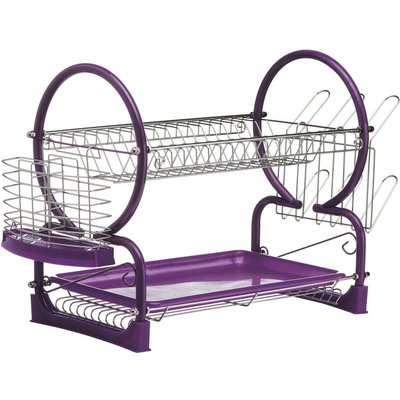 2 Tier Dish Drainer - Purple Enamel Frame