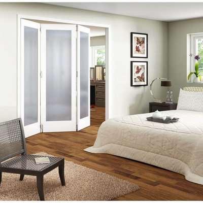 3 Door Obscure Glazed White Primed Internal Room Divider - 1929mm Wide
