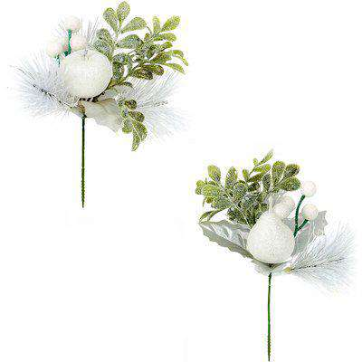 White Apple or Pear Wreath, Garland or Christmas Tree Decoration Pick - Assortment
