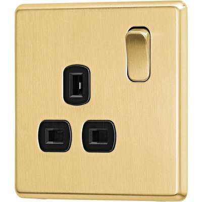 Arlec Fusion 13A 1 Gang Gold Single switched socket