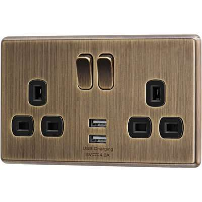 Arlec Fusion 13A 2 Gang Antique Brass Double switched socket with 2x4A USB
