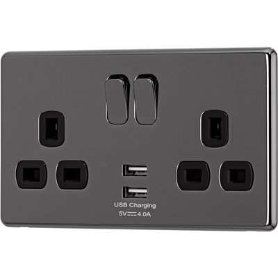 Arlec Fusion 13A 2 Gang Black Nickel Double switched socket with 2x4A USB
