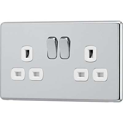 Arlec Fusion 13A 2 Gang Polished Chrome Double switched socket