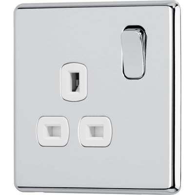 Arlec Fusion 13A 1 Gang Polished Chrome Single switched socket