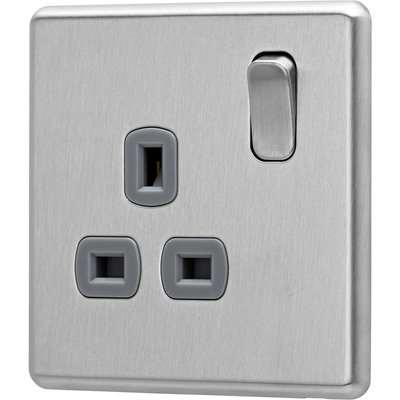 Arlec Fusion 13A 1 Gang Stainless Steel Single switched socket