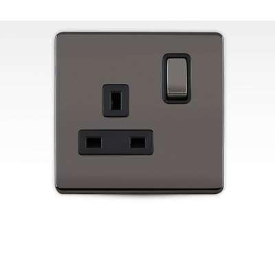 Arlec Metal Screwless 13 Amp 1 Gang Switched Socket Black Nickel