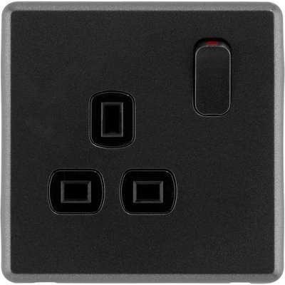 Arlec Rocker 13A 1 Gang Charcoal Grey Single switched socket