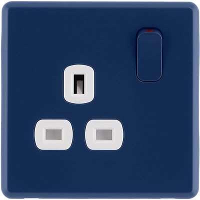 Arlec Rocker 13A 1 Gang Galaxy Blue Single switched socket
