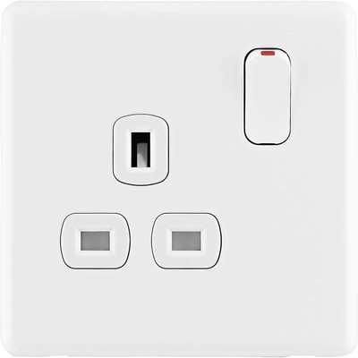 Arlec Rocker 13A 1 Gang Ice White Single switched socket
