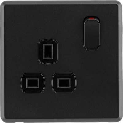 Arlec Rocker 13A 1 Gang Jet Black Single switched socket