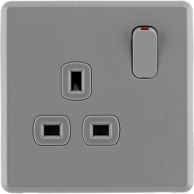 Arlec Rocker 13A 1 Gang Stone Grey Single switched socket