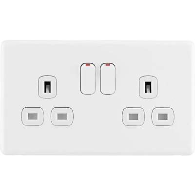 Arlec Rocker 13A 2 Gang Ice White Double switched socket