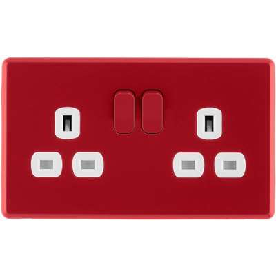 Arlec Rocker 13A 2 Gang Cherry Red Double switched socket