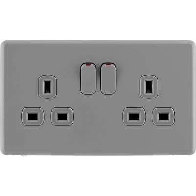 Arlec Rocker 13A 2 Gang Stone Grey Double switched socket