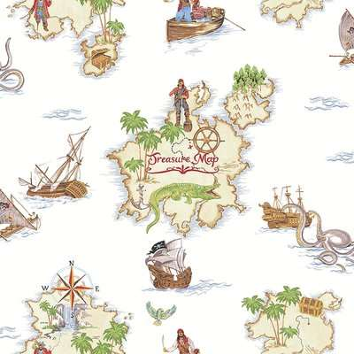 Arthouse Pirates Ahoy Kids Smooth Multi Coloured Wallpaper