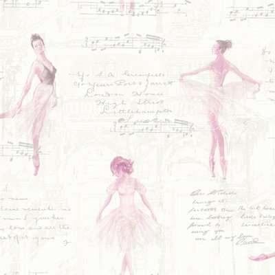 Arthouse Pirouette Ballet Dancer Kids Smooth Metallic Glitter Pink Wallpaper