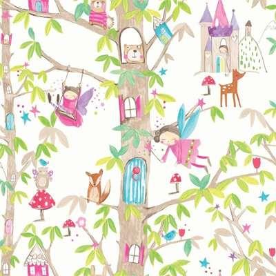 Arthouse Woodland Fairies Kids Smooth Glitter White Wallpaper