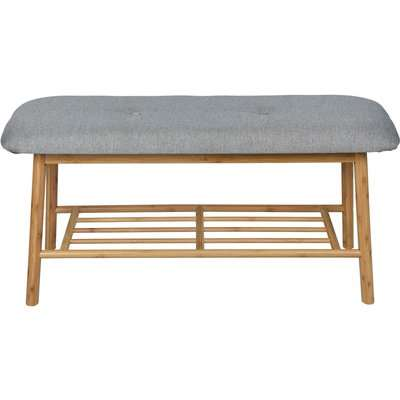Bamboo Shoe Bench with Grey Cushion Seat