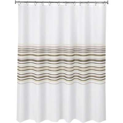 Banded Stripe Natural Shower Curtain